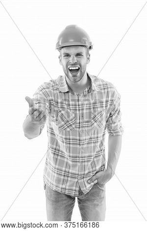 Building For Your Life. Emotional Builder Shout Isolated On White. Building Engineer Wear Safety Hat