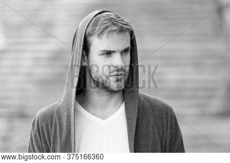 Looking Trendy. Urban Fashion Look. City Modern Life. Man In Hoody. Man In Hood Outdoor. Hooligan We