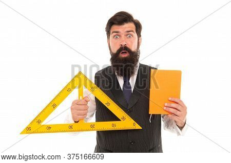Wow. Surprised Engineer Isolated On White. Engineer Hold Triangle And Class Register. Leading Engine