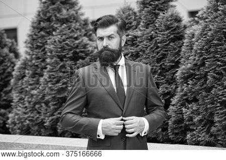Successful Entrepreneur. Business Life. Man Businessman Classic Style Urban Park Background. Busines