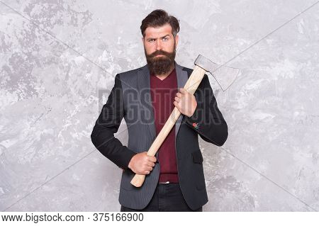 Keep The Wild In You. Bearded Man Hold Axe Abstract Background. Brutal Lumberjack With Iron Axe. Cut