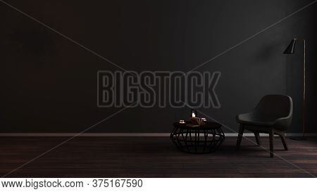 Modern Luxury Dark Living Room Interior Background With Grey Armchair In Night Light, Dark Room Inte
