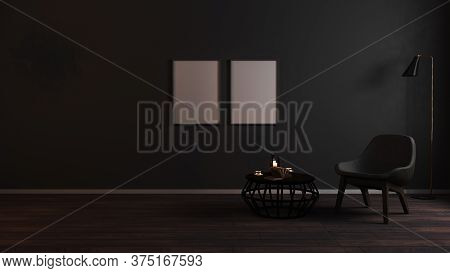 Blank Frames Mock Up In Luxury Dark Living Room Interior Background With Grey Armchair In Night Ligh