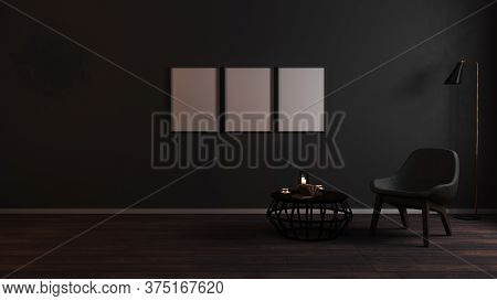 Blank Vertical Frames Mock Up In Luxury Dark Living Room Interior Background With Grey Armchair In N