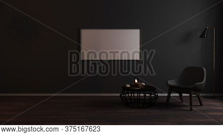Horizontal Blank Frames Mock Up In Luxury Dark Living Room Interior Background With Grey Armchair In
