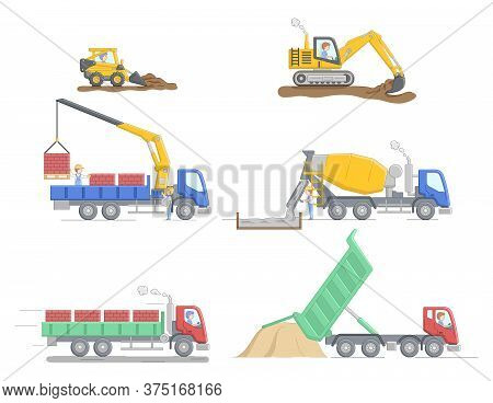Construction Concept. Set Of Different Construction Truks And Equipment For Differend Work. Construc