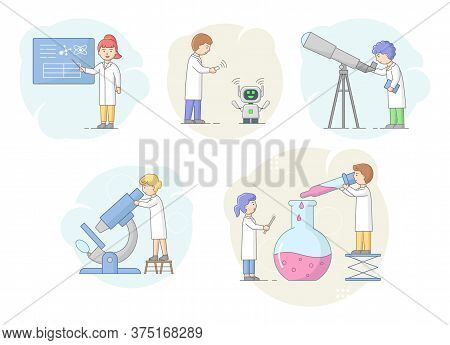 Biochemistry And Science Concept. Scientists Make Research In Laboratory Using Professional Equipmen