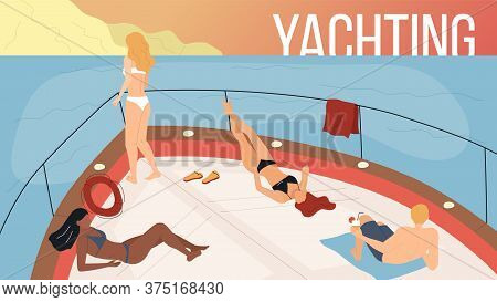 Concept Of Vacations On Yacht, Sea Travel And Friendship. Happy People Making A Party On Yacht Ferry