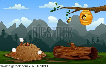 Ant Colony And A Beehive At Nature Landscape