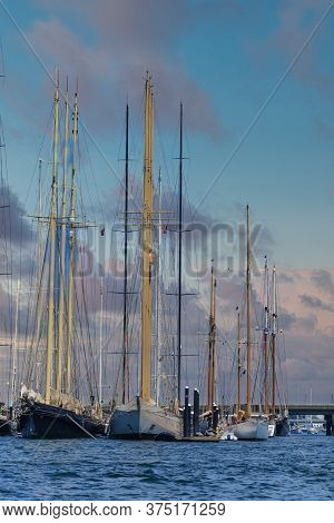 Empty Masts On Sailboats In Harbor Near Newport