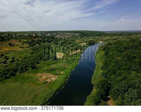 Aerial View Of Beautiful Natural Landscape. River Voronezh, Russia