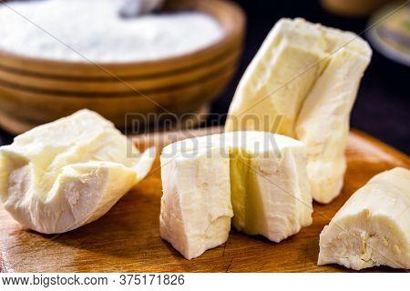 Cut And Peeled Cassava Root. Brazilian Cuisine.