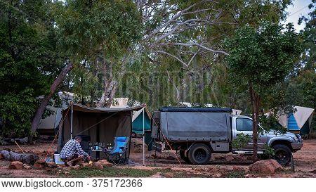 Undara Volcanic National Park, Queensland, Australia - June 2020: Tourists Camping In Tent Amongst B