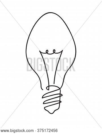 Light Bulb Symbol. Idea Concept. Continuous Line Art Drawing. Hand Drawn Doodle Vector Illustration