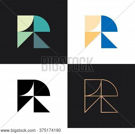 Set of letters R from abstract geometric multicolors shapes. Application icon design template. Vector logo design.