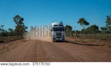 Undara To Townsville Highway, Queensland, Australia - June 2020: Transport Truck On Outback Highway