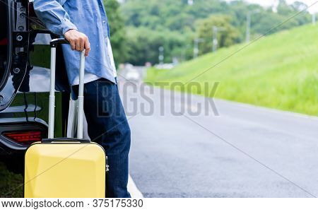 Man With Luggage. Travel Solo And Outdoor Activities Alone On Summer Holiday. Social Distancing And
