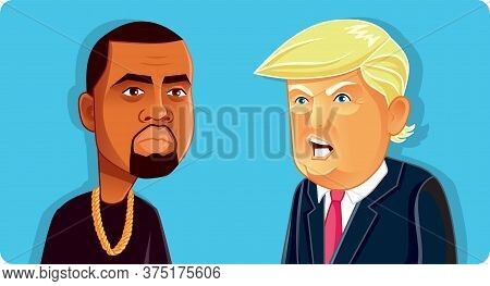 N.y.,u.s. July 6, 2020, Donald Trump And Kanye West Vector