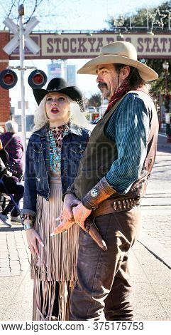 Fort Worth,texas, Jan.4,2020 - Cowboy And Cowgirl At The Fort Worth Stockyards Which Happens Ever Da
