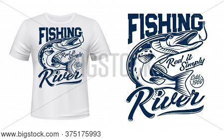 Pike Fish T-shirt Print Vector Mockup. Huge Pike Fish Opens A Jaws To Catch Fishhook Or Bait And Typ