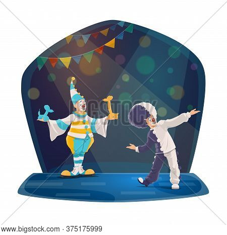 Circus Clowns Cartoon Vector Characters. Two Smiling Clowns In Colorful Costumes, Striped Cap And Wi