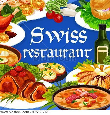 Swiss Food Cuisine Vector Chicken In Dough, Duck With Orange, Gingerbread Leckerli Or Beef Wellingto
