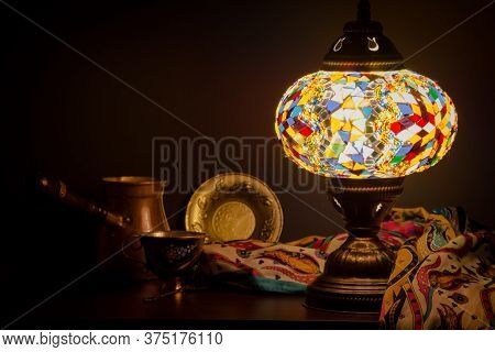 Table Lamp Of Turkish Origin On Wooden Table And Turkish Decoration