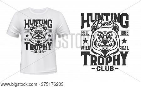 Wild Grizzly Bear T-shirt Custom Print Vector Mockup. Grizzly Bear Muzzle, Dangerous Predator Head A