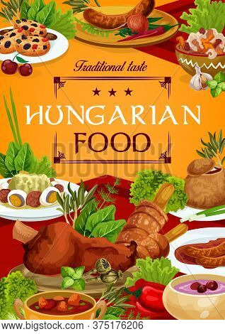 Hungary Cuisine Vector Hungarian Food Sausages With Sauce And Onion, Salad With Egg, Braised Cabbage