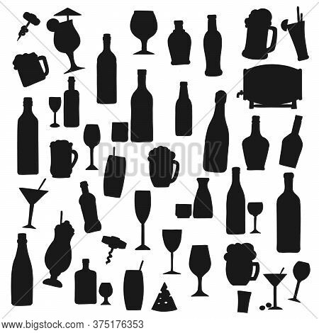 Drinks Black Vector Silhouettes. Alcohol And Soft Beverages Bottles And Cocktail Glasses, Fruit Juic