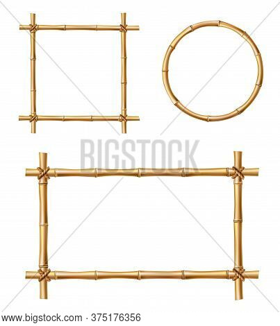 Bamboo Frames, Isolated Vector Borders Made Of Wooden Brown Bamboo Sticks Tied With Ropes Of Square,