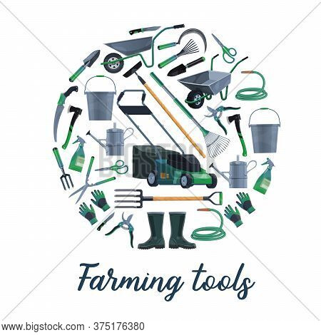 Farming And Gardening Tools Vector Set. Lawnmover And Wheelbarrow, Bucket And Watering Can, Hoe And
