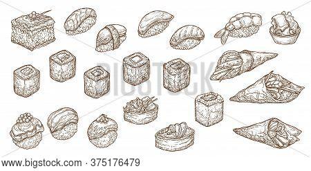 Sushi, Sashimi And Rolls Vector Sketch. Nigiri, Maki Japanese Engraved Seafood. Uramaki And Inari, G