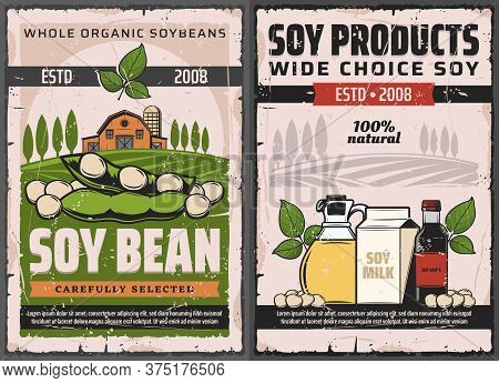 Soy And Soybean Products Vector Soya Food, Plant Beans, Oil And Sauce Bottles, Milk Pack And Legume