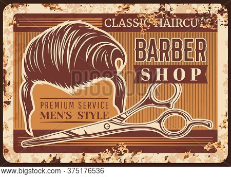 Barbershop Rusty Metal Plate Vector. Men Undercut And Brush Up Haircut, Hairdresser Shears With Fing