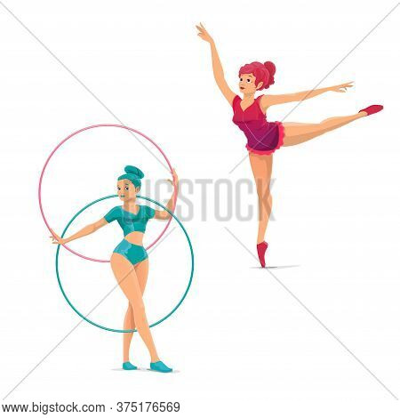 Big Top Circus Gymnasts And Balancers Vector Characters. Cartoon Woman Acrobats Showing A Performanc