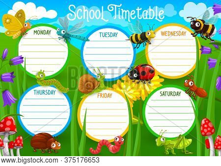 School Timetable With Insects On Meadow Vector. Weekly Schedule, Timetable With Butterfly And Dragon