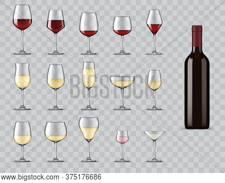 Types Of Wine Glasses. Realistic Bottle And Glassware For White, Red, Rose Wine, Champagne And Marti