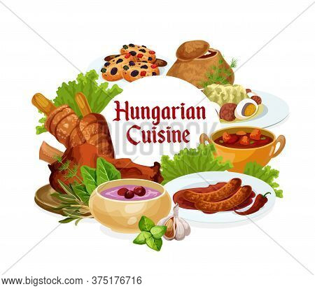 Hungary Cuisine, Vector Hungarian Meals Salad With Egg, Traditional Vegetable Stew, Sausages With Sa