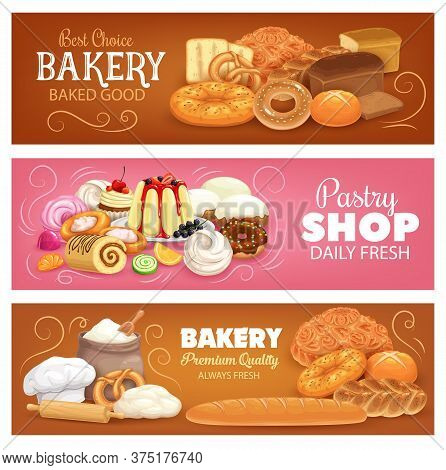 Bakery Shop Pastry And Bread Vector Banners. Bakery Products And Desserts. Wheat, Rye Bread, Bagel A