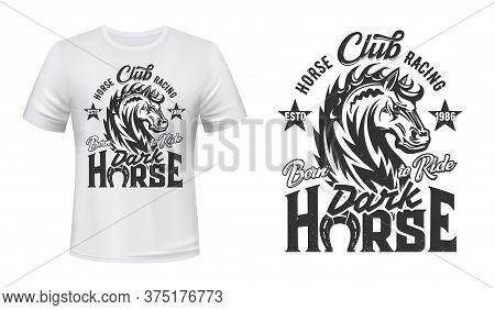 Equestrian Sport T-shirt Print With Steed Stallion, Horse Racing Vector Mascot. Stallion Monochrome
