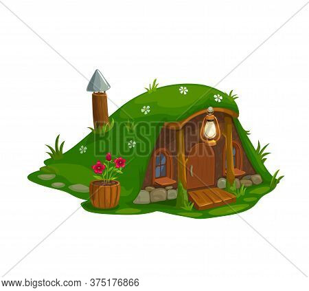 Fairy House Of Dwarf Gnome, Elf Home Cartoon Icon, Vector Isolated. Fairy Tale Dwarf Gnome House In