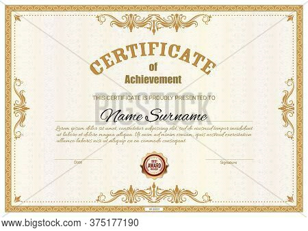 Certificate Template And Diploma Award, Vector Border Frames Background. Business Achievement And Be
