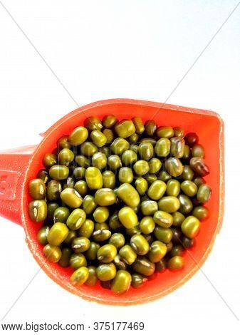 Green Mung Beans Also Know As Mung Dal, Vigna Radiata, Green Beans Or Moong Dal Isolated On White Ba