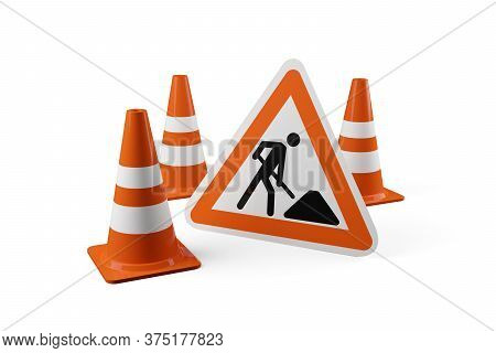 Three Orange Traffic Warning Cones Or Pylons With Street Or Road Construction Sign On White Backgrou