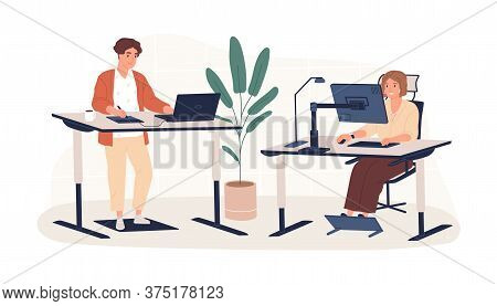 People Working At Modern Ergonomic Workplace Vector Flat Illustration. Man And Woman Employees Sitti