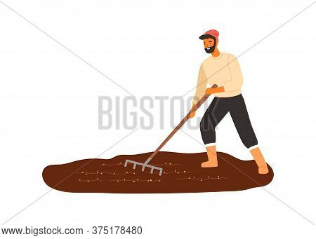 Cheerful Male Farmer Work With Field Use Rake Vector Flat Illustration. Smiling Agricultural Worker