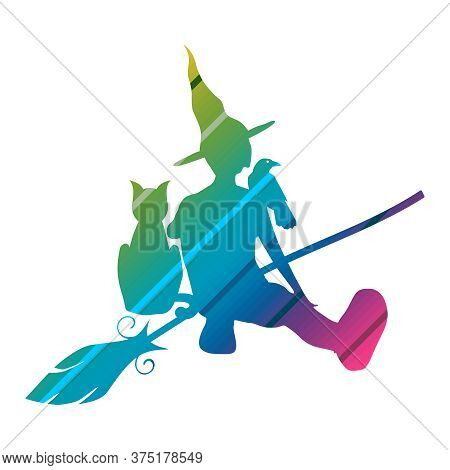Illustration Of Sitting Young Witch. Witch Silhouette With A Broomstick, Cat And Raven. Halloween Re