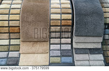 Variety Colorful Carpet Samples In The Store