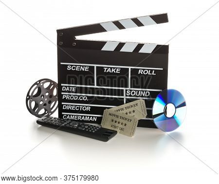 Single, Black, Open Movie Clapper Or Clapper-board With Dvd Movie Disc, Film Reel, Remote Control An